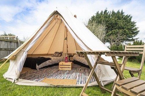 4 metre 2 person glamping bell tent for hire