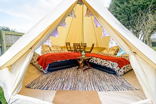 4 person 5 metre glamping bell tent for hire