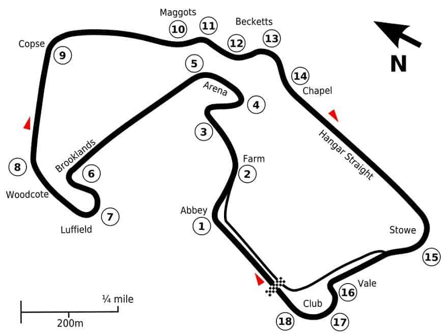 Silverstone F1 Circuit map