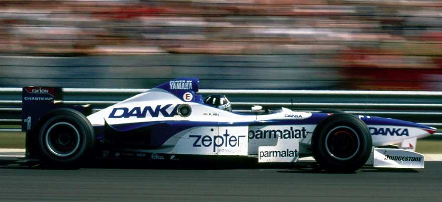 Damon Hill in a Arrows Yamaha A18 car leading the 1997 Hungarian Formula One Grand Prix