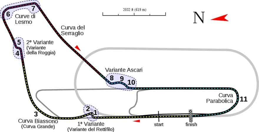Monza F1 circuit map