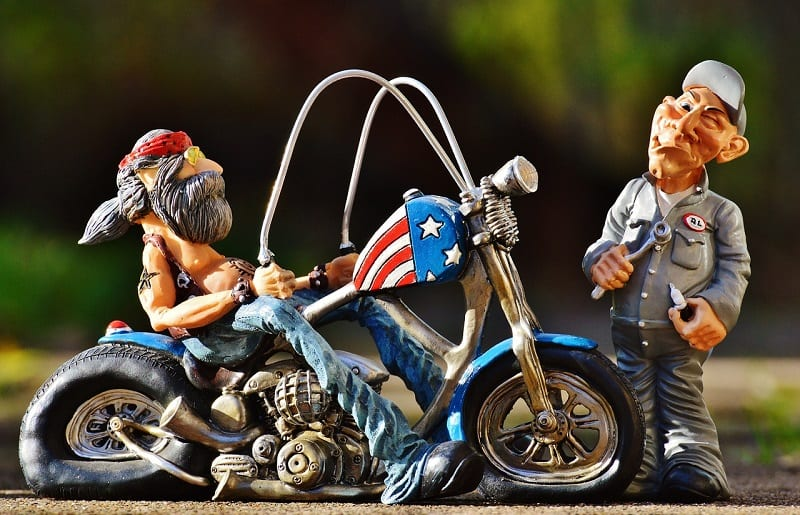 biker and mechanic