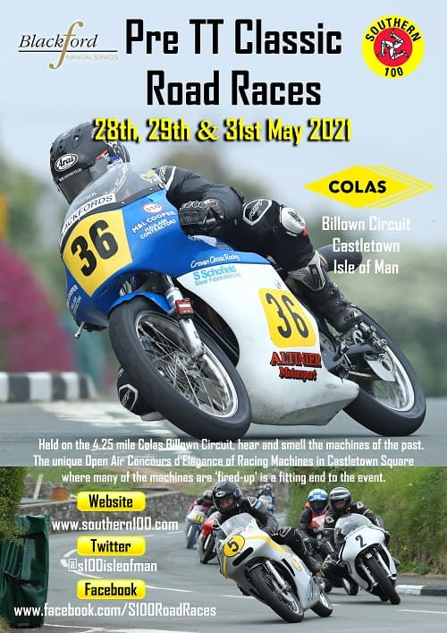 Southern 100 pre tt road races 2021 poster