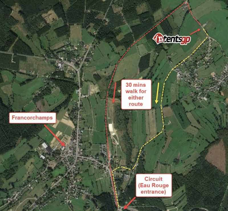 Routes to the circuit from our campsite at the Belgian F1 Grand Prix