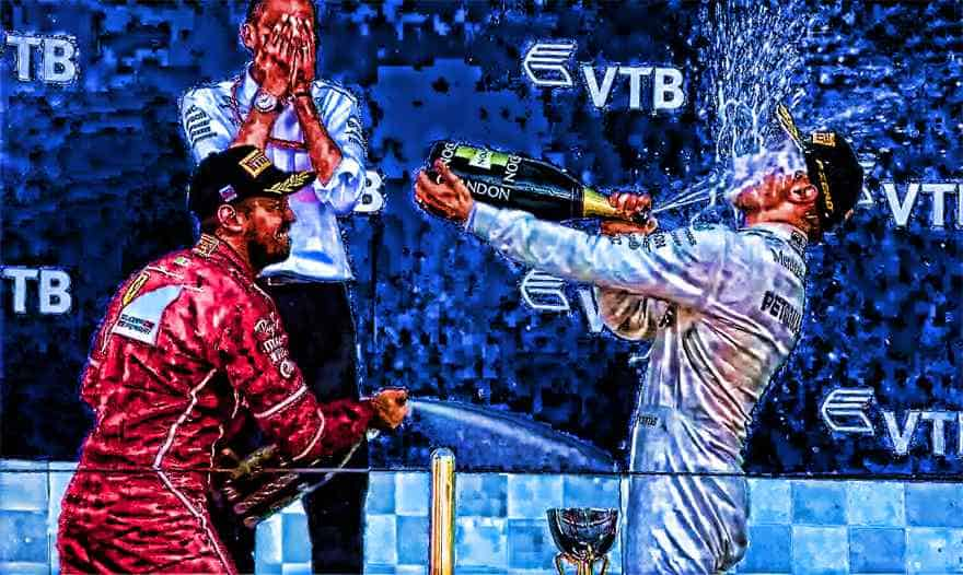 F1 art - Bottas celebrating his first win in a comic book HDR