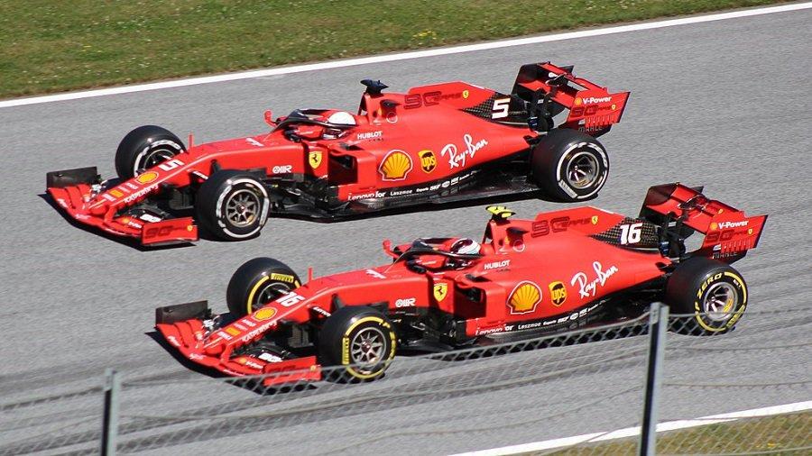 Two ferrari f1 cars side by side 2019 austrian grand prix