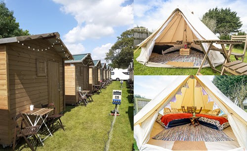 glamping tents and cabin collage