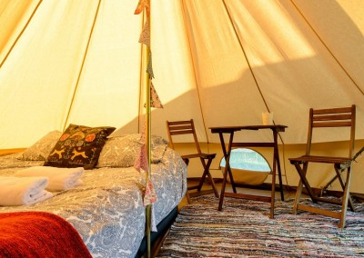 glamping bell tent hire 2 person interior