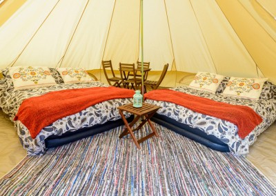 glamping bell tent hire 4 person interior