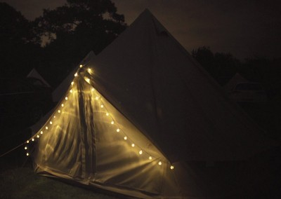 glamping bell tent hire - tent at night
