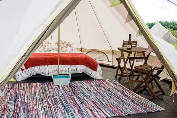 Glamping tent F1 MotoGP interior