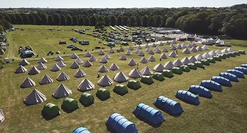 isle of man tt campsite at douglas drone photo
