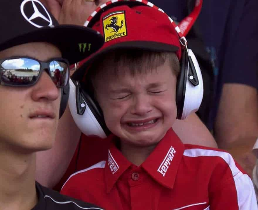 Upset child re Kimi Raikkonen's retirement from the Spanish Grand Prix