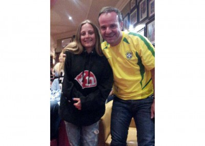 Kiri with Reubens Barrichello. Her all time favourite!