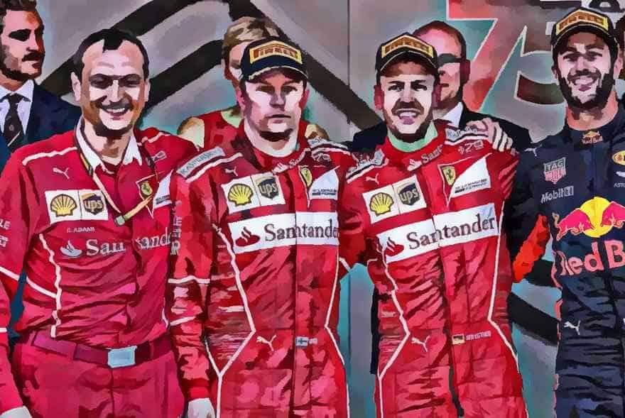 Vettel Raikkonen and Ricciardo trophy presentation Monaco 2017