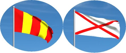 red/yellow and red cross motogp flags together