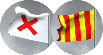 MotoGP red cross flag & yellow/red striped flag