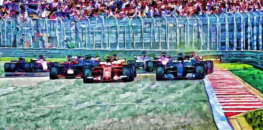 F1 Art - Russian Grand Prix start in a pastel