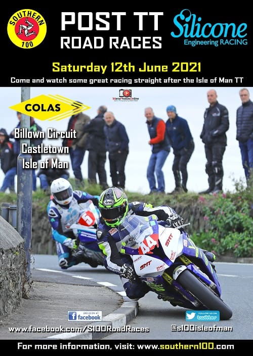 Southern 100 post tt road race 2021 poster