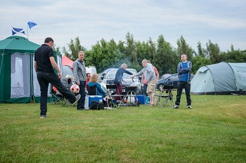 Guest enjoying themselves at our campsite for the Silverstone Classic
