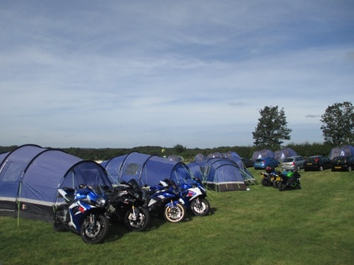 Pre erected camping tents for the Silverstone British MotoGP
