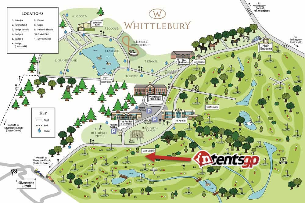 Map showing intentsGP campsite location at Whittlebury for the British F1 Grand Prix